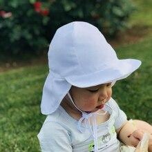Летние Для детей Солнца шляпа пляжная кепка открытый шеи уха откидной крышкой Регулируемый головной убор Drawstring шапочка для плавания с рисунками UPF 50+ UV