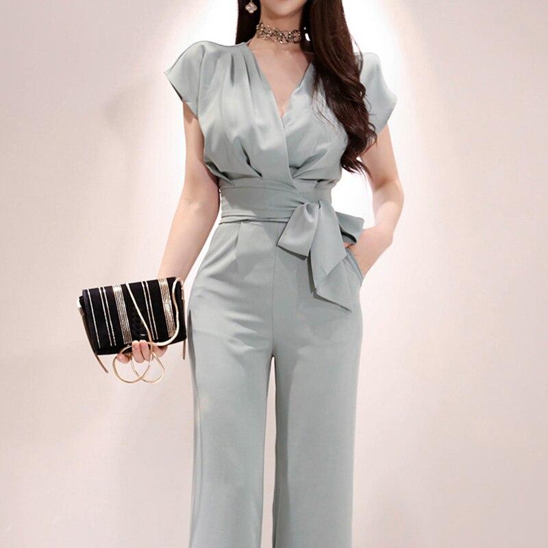 Elegant 2 Pieces Set Women V-neck Lace Up Tops & High Waist Wide Leg Pants OL Style Solid Female Set 2019