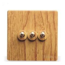 Luxury Yellow Wood Pattern 86 Wall Switch,  3 Gang 2 Way, AC 110 ~ 250V