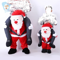 Adult Kid Christmas Costume Plush Mascot Ride On Santa Claus Carrying Cosplay Pants Funny Fancy Dress