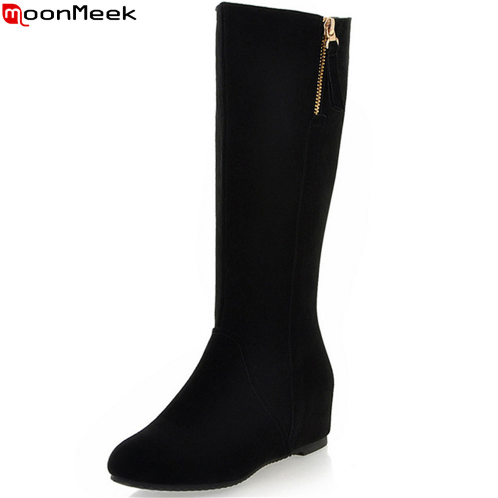 MoonMeek 2018 fashion autumn winter women boots black round toe cow suede ladies boots height increasing mid calf boots