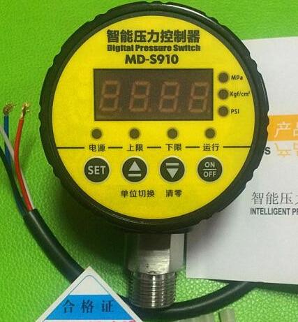 MD-S910 digital pressure controller digital pressure gauge digital pressure switch range:0~1.6MPA M20X1.5 AC220V ac220v 0 10mpa air compressor pressure switch digital pressure gauge relay output