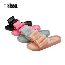 цена на Melissa Original flip flops sandals girls Women Bowtie Summer Sandals Slipper Indoor Outdoor Flip-flops Beach Shoes