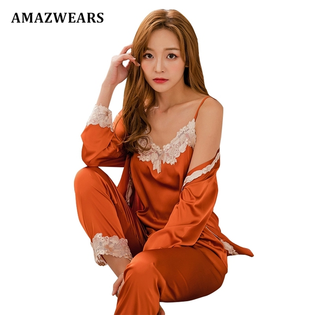 Women Autumn Pajamas Set Spaghetti Strap Sleepwear Silk Satin Nightwear Sets b4bd5c1b7