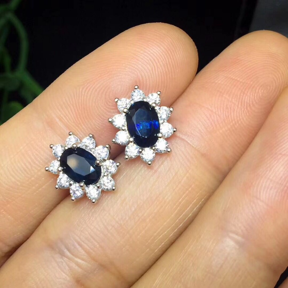 Blue Sapphire Earrings Stud 925 Sterling Silver Fashion Princess Diana Engagement Wedding Accessories