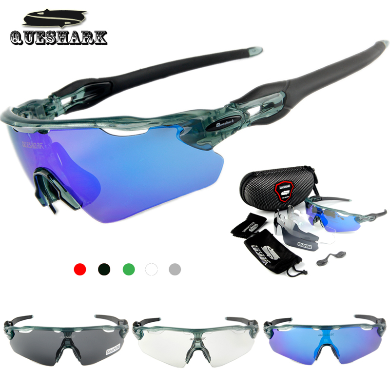Queshark 3 Lens Polarized Cycling Sunglasses MTB Road Bike Glasses Racing Bicycle Goggles Tour De France Riding Sports Eyewear