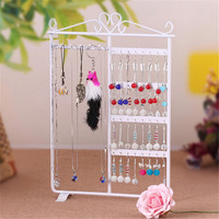 Women Wrought 32 Hole Earrings Jewelry Display Wall Mounted Frame Rack Metal Holder Iron Convenient Jewelry