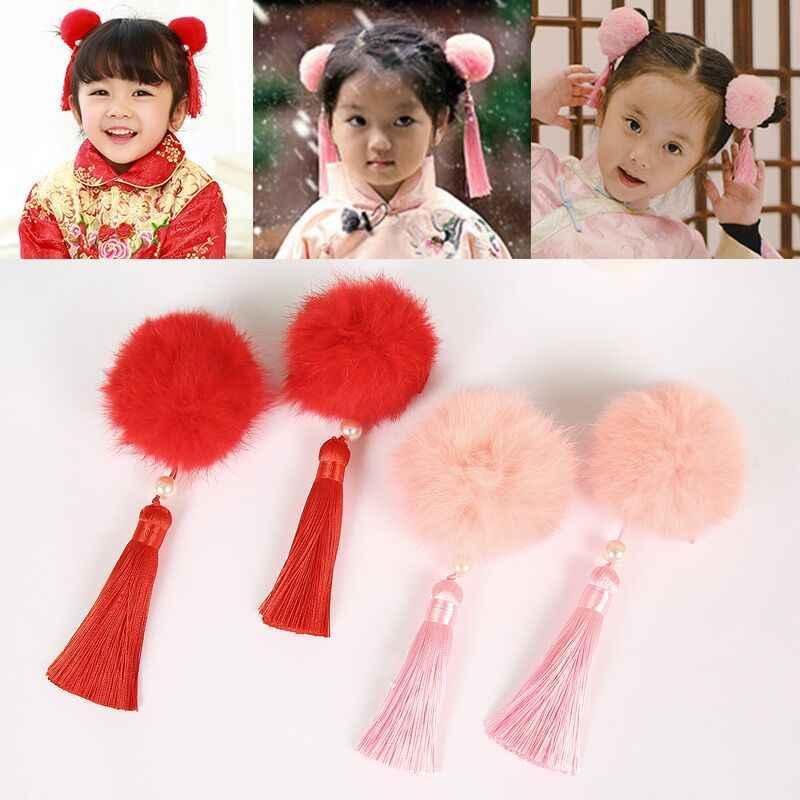 2018 新 Noiva 花嫁新年ベビードレス子供真央秋フリンジ髪飾り中国風の女の子クリップカードアクセサリー