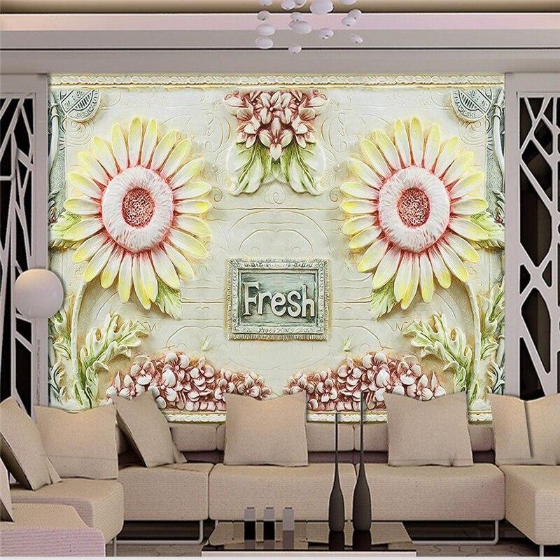 Beibehang personnalisé papier peint de tournesol rétro en relief