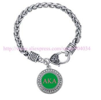 AKA Pink & Green Sorority custom charm bracelet 5pcs
