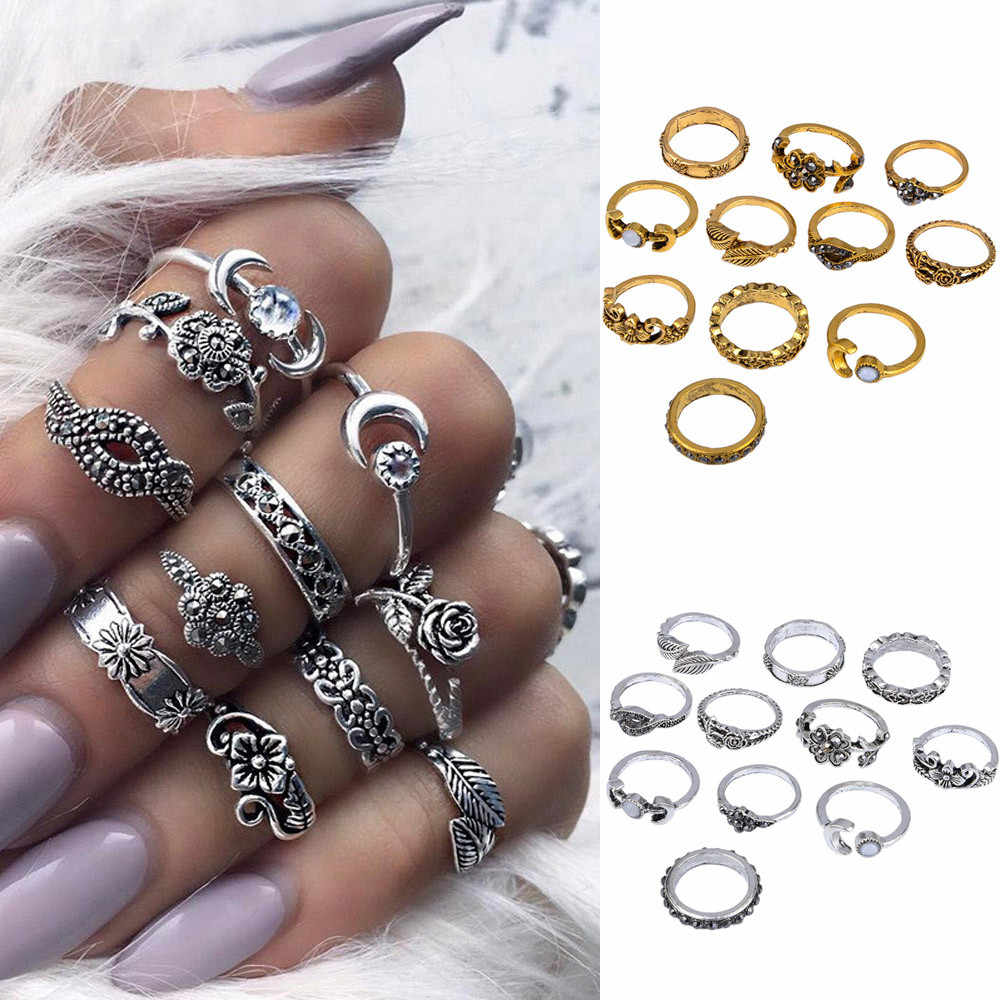 11pcs/Set Women Bohemian Vintage Silver Stack Rings Above Knuckle Blue Rings Set rings for women Elegant Temperament Accessories