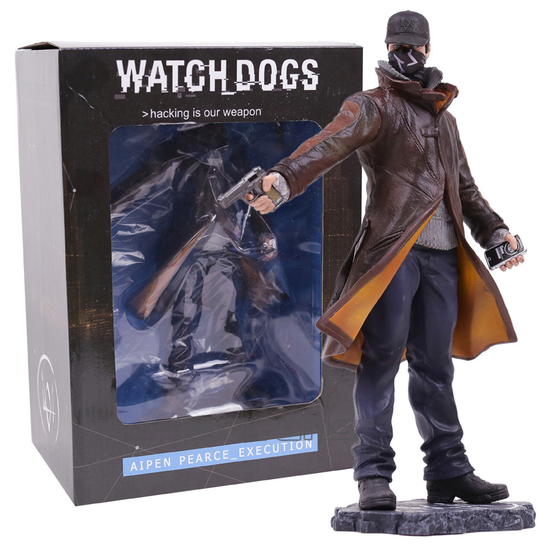 Watch Dogs Aiden Pearce Execution Statue Character Figurine Collectible Model Toy 23cm coolsa new summer linen women slippers fabric eva flat non slip slides linen sandals home slipper lovers casual straw beach shoe