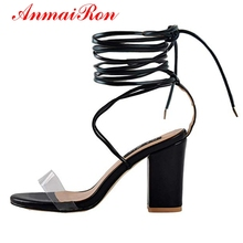 ANMAIRON  PU Basic Casual Sandals Women Fashion High Heel Lace-Up Solid De Verano Para Mujer Size 35-43 LY1213