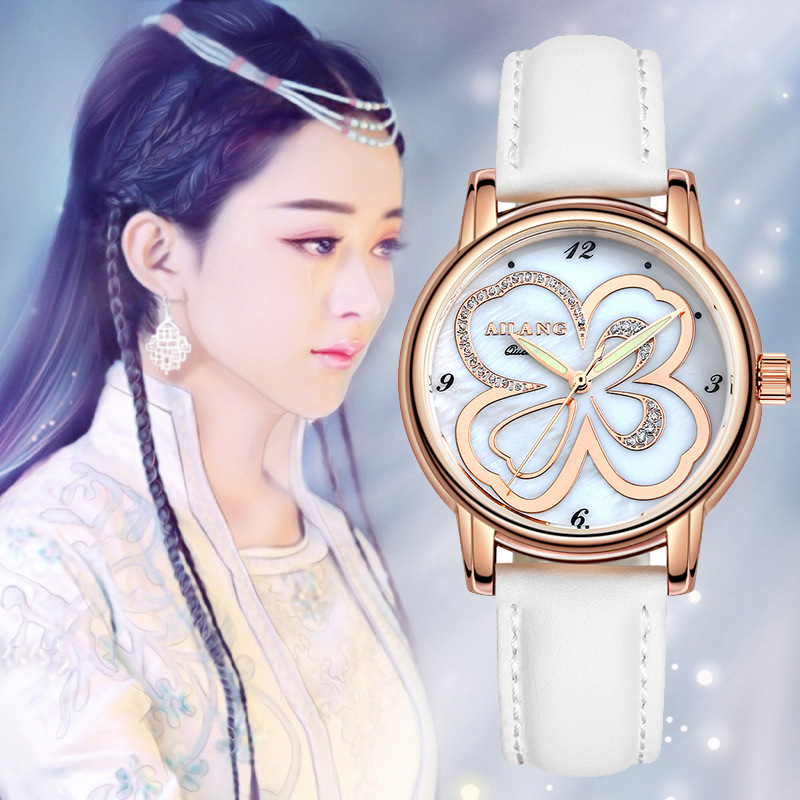 AILANG Brand Lucky 4-leaf Clover Women Elegant Crystals Watches 100% Real Leather Quartz Dress Wrist watch Shell Relojes NW7175