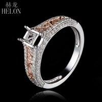 HELON Brilliant Cushion 6X4mm Pave 0 4ct Diamond Semi Mount Ring Real 14K White Gold Rose