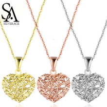 SA SILVERAGE 18K Rose Gold/White Gold/Yellow Gold Heart Shape Pendant Necklaces Necklace Wind Women