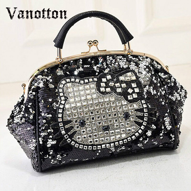 Luxury Famous Brand Women Female Sequined Bags Leather Hello Kitty Handbags Shoulder Tote Bolsos Mujer De Marca Sac De Marque bolsos mujer 2015 fashion serpentine leather bags handbags women famous brands ladies shoulder bags designer sac de marque