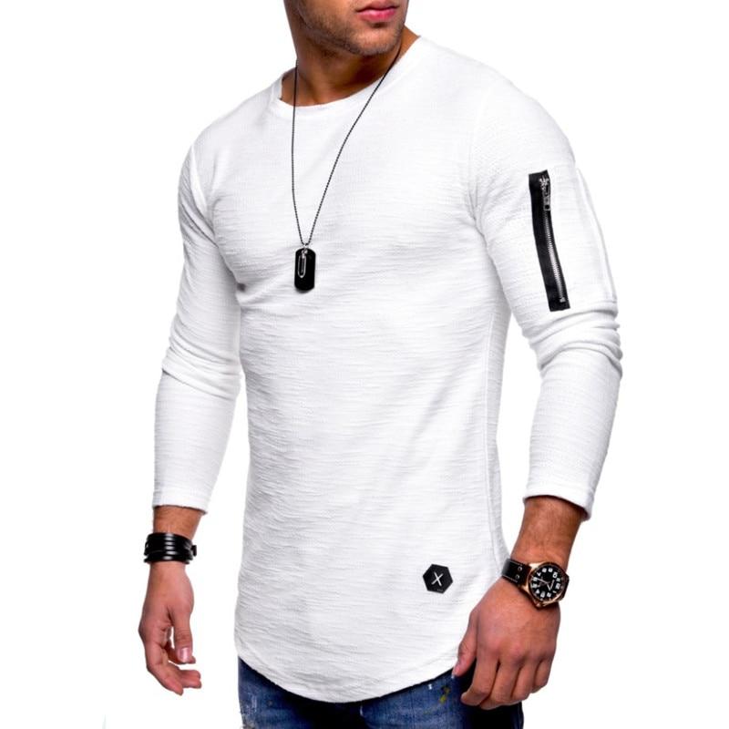 2019 New T-shirt Men's Spring And Summer T-shirt Top Men's Long-sleeved Cotton T-shirt Bodybuilding Folding T-shirt Men