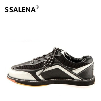 High Quality Bowling Shoes Mens Anti-Skid Outsole Sneakers Leather Breathable Sport Shoes Comfortable Lace Up Footwear AA11034