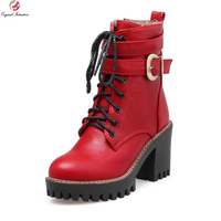 כוונה מקורית פופולרי נשים קרסול מגפי אופנה עקבים כיכר טו העגול מגפיים שחור חום אדום אישה נעלי גודל ארה