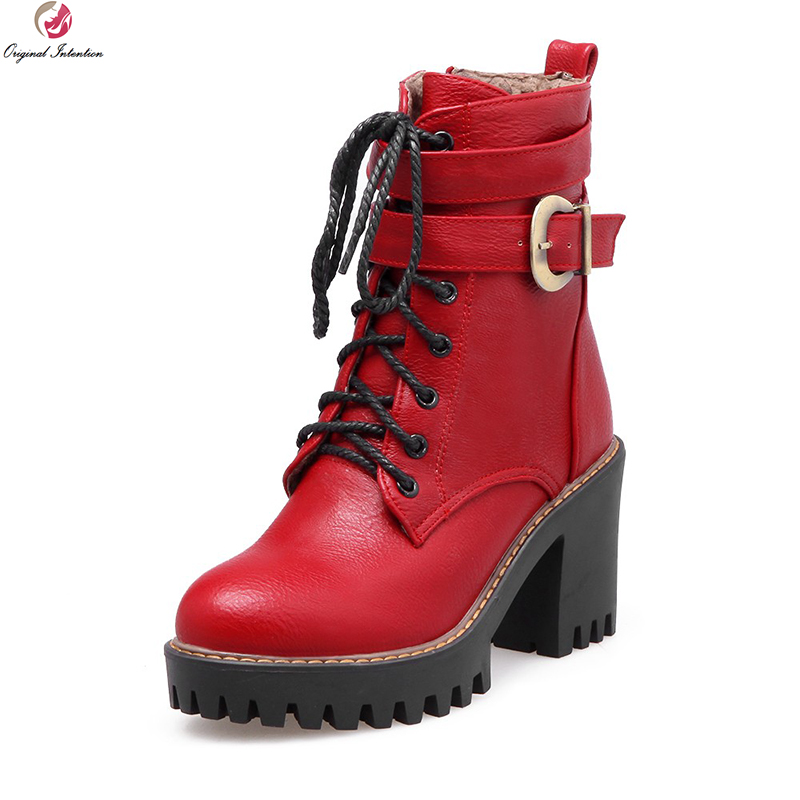 Original Intention Popular Women Ankle Boots Fashion Round Toe Square Heels Boots Black Brown Red Shoes Woman US Size 4-10.5 original intention high quality women ankle boots pointed toe square heels boots fashion black brown shoes woman us size 4 10 5