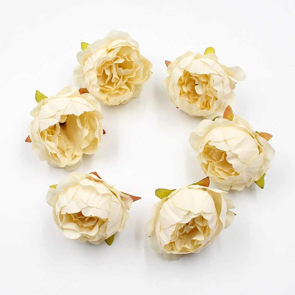 5pcs/lot 5cm High Quality Peony Flower Head Silk Artificial Flower Wedding Decoration DIY Garland Craft Flower