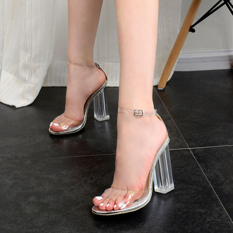 ФОТО 2017 Summer Sexy Girl PVC Transparency Ankle Buckle Strap Crystal Thick High Heels Ladies Peep Toe Sandals Woman Casual Shoes