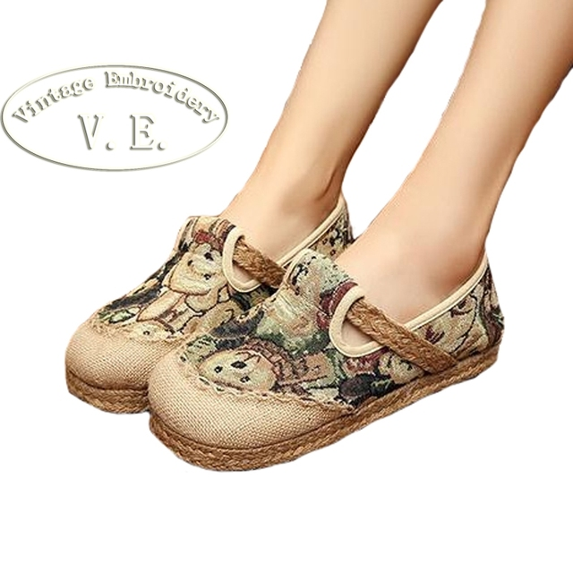 Vintage Embroidery Womens Cotton Linen Flat Canvas National Style Woven Round Toe Soft Canvas Shoes with Bear Embroidered