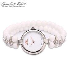 Роскошные Женщины браслет pearl старинные часы мода повседневная кварцевые часы 50 м водонепроницаемость montre femme женщины саат