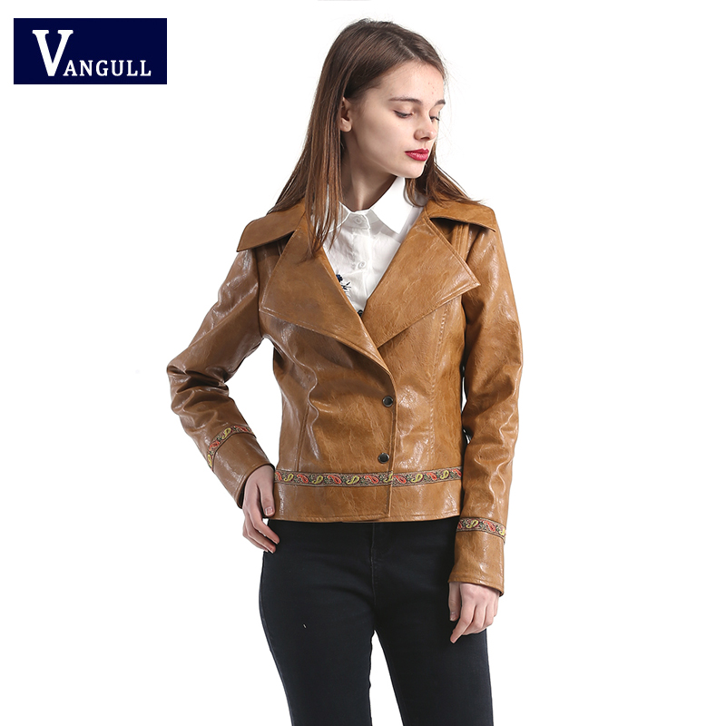 2018 high quality new spring&autumn woman lady moto&biker style loose cool soft casual appliques fashion   leather  &  suede   jacket