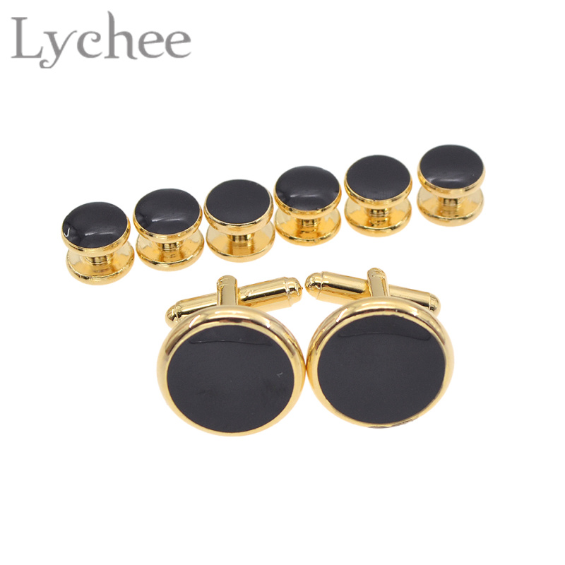 Lychee 8pcs Multi Color Tuxedo Shirts Cufflinks Cuff Studs Set Cuff Link for Men's Shirt Wedding Jewelry