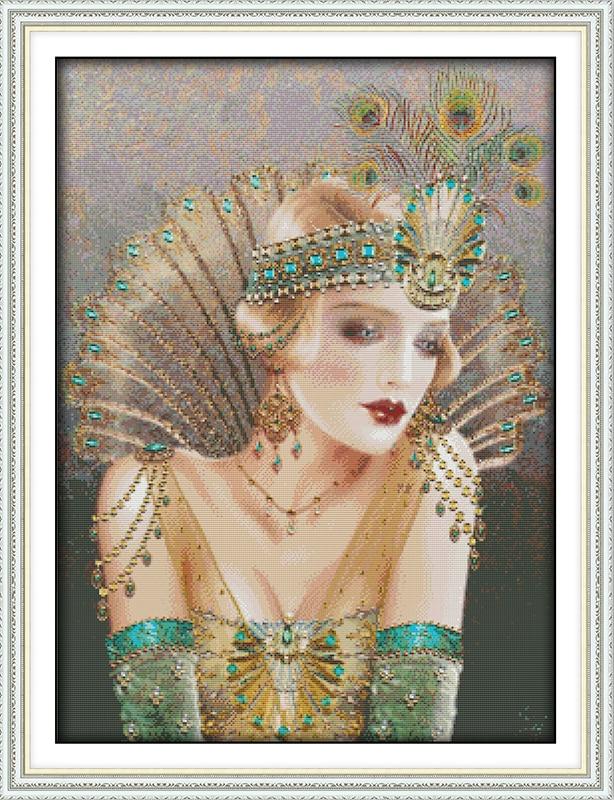 ᗑLa Reina del Pavo Real DMC casa decoración lienzo Cruz puntada ...