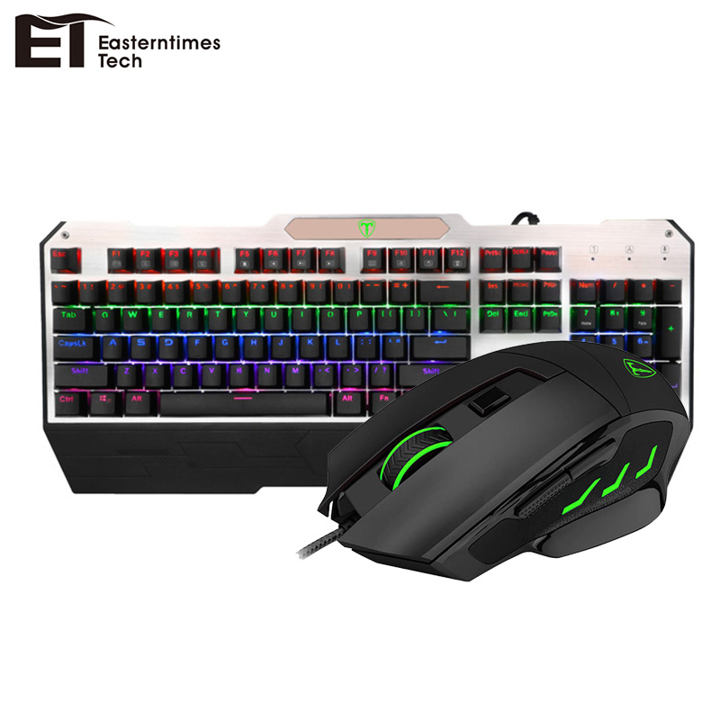 ET Keyboard Mouse Combo Anti-Ghosting Waterproof Wired Gaming Mechanical Keyboard 6400 DPI Adjustable Optical USB Mouse Gamer