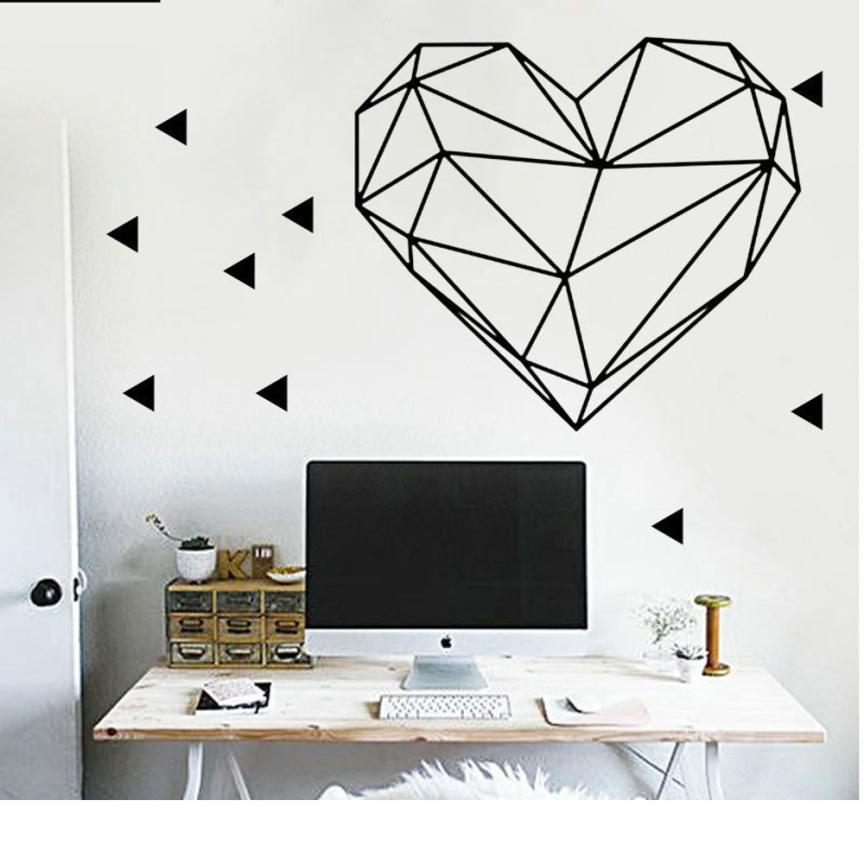 Wall Sticker Valentines Day Love Geometry Window Wall Sticker Mural Decor Decal Removable 4.30