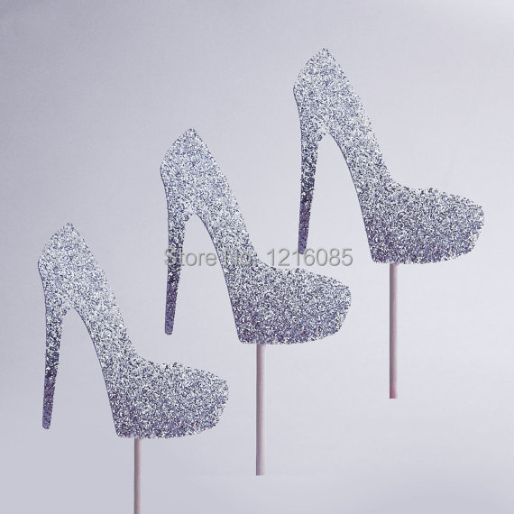 Hot Glitter High Heel Shoes Cupcake Toppers Wedding Food Picks Birthday Bridal Baby Shower Party Decor Cake Topper In Toothpicks From Home Garden On