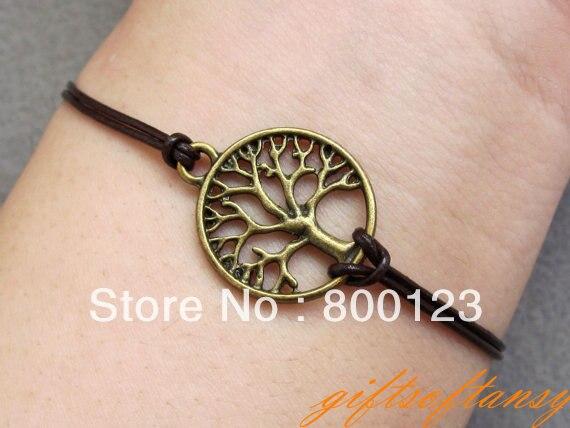 Tree of Life Bracelet-Antique Bronze Tree of Life Bracelet, Infinity Hope Bracelet, Branch bracelet & Leather Rope
