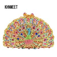 Crystal Copper Evening Bags Clutch Purse Animal Peacock Shaped Women Evening Party Bags Fashion Designer Evening