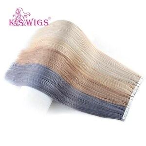 Image 4 - K.S かつらレミー人間の髪ダブル描かストレートシームレススキン横糸ヘアエクステンション 16 20 24 10 ピース/パック