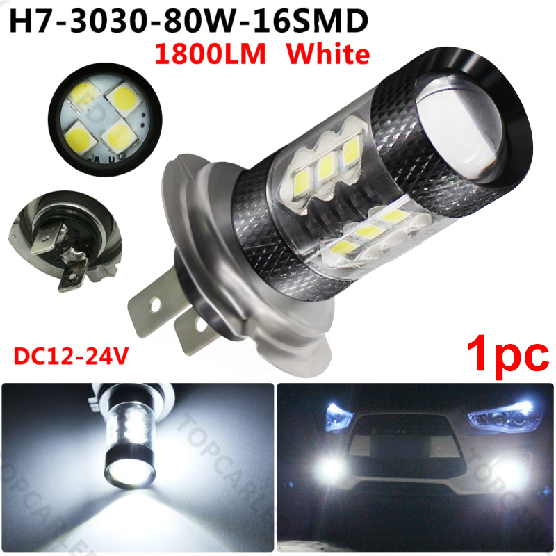 H7 <font><b>LED</b></font> Car <font><b>Fog</b></font> <font><b>Lamp</b></font> <font><b>16</b></font> SMD 3030 <font><b>LED</b></font> Bulb 80W 12V-24V White <font><b>Lamp</b></font> Auto Car Headlight <font><b>LED</b></font> Bulbs Headlamp <font><b>Fog</b></font> Light Driving Lights image