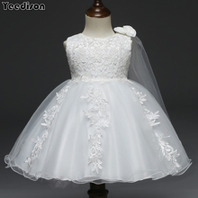 Baby Dresses White Flower Lace 1st Year Birthday Infant Outf