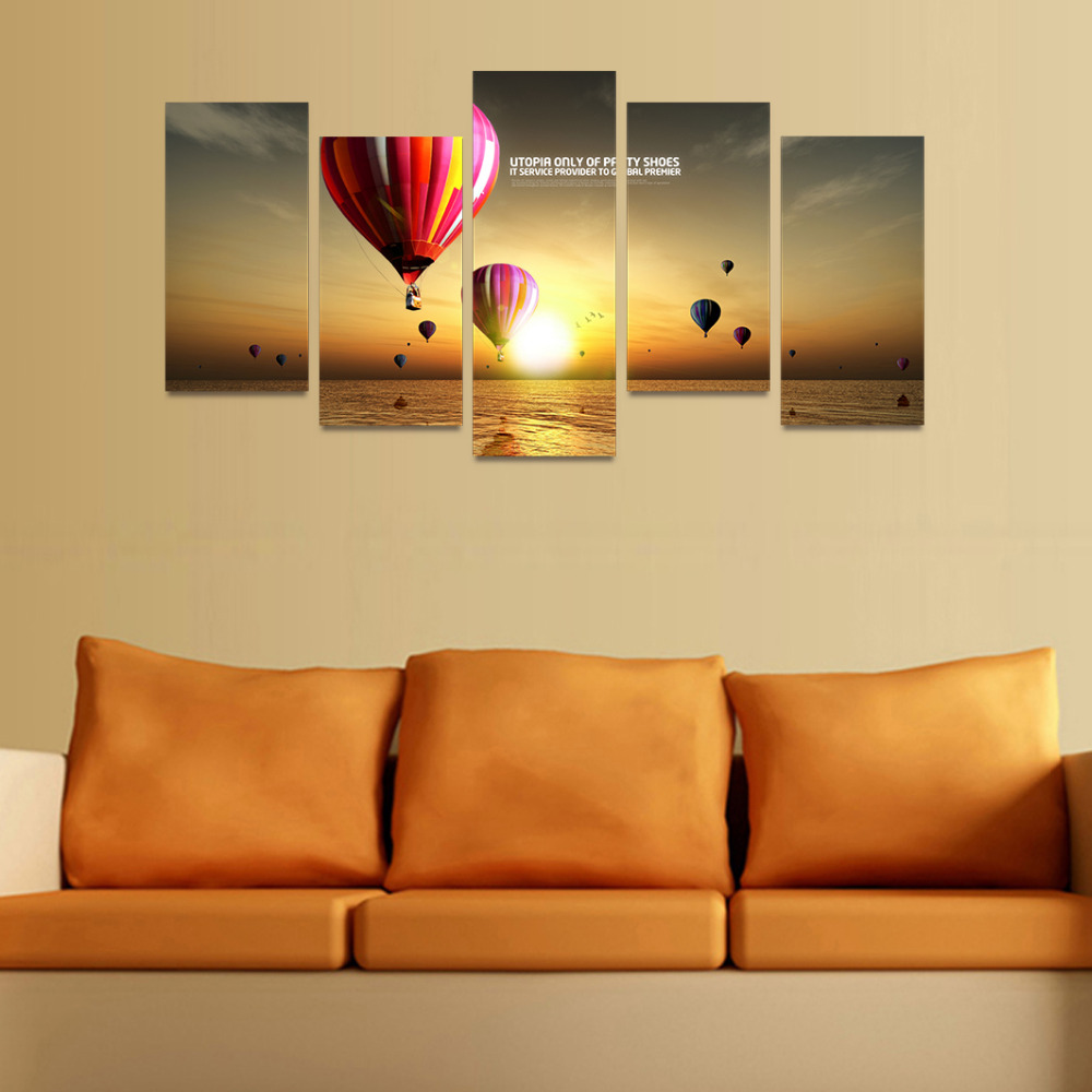 5 Panels Canvas Print Hot Air Balloons Fly On Ocean Painting On ...
