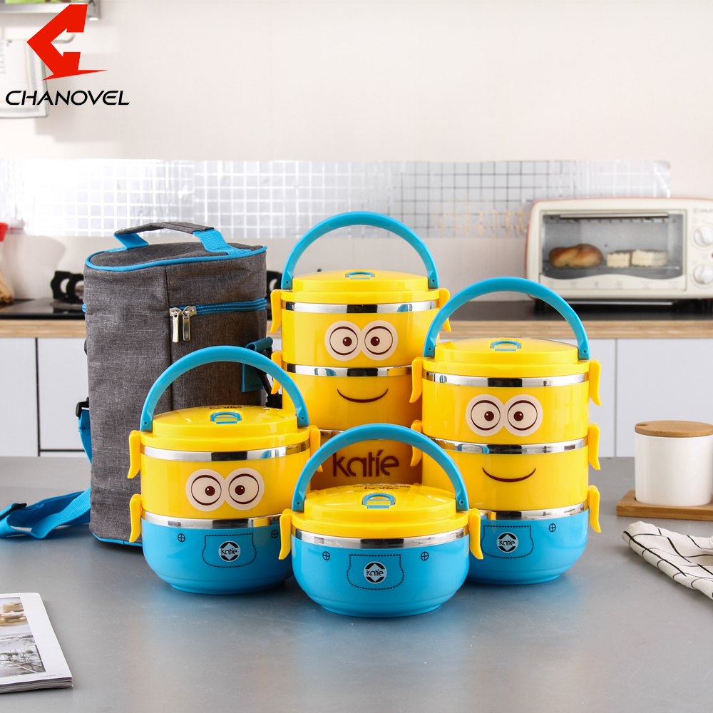 CHANOVEL 1 PCS Cute Cartoon Lunch box For Kids With Plastic Tiffin Boxes Thermal stainless steel Dinnerware Sets