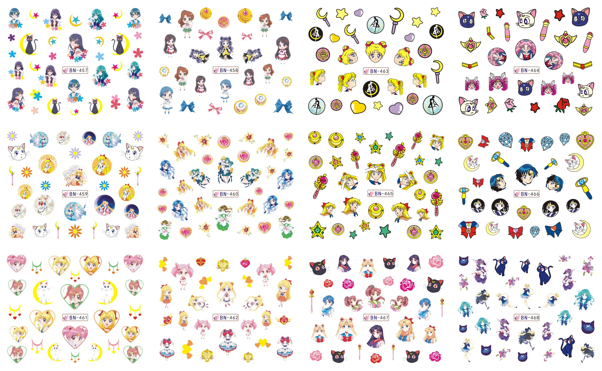 12 Sheets/Lot Nail BN457-468 Cartoon Sailor Moon Nail Art Water Sticker Decal For Nail Water (12 DESIGNS IN 1) 3 packs lot cartoon marine mermaid conch sea star nail tattoos sticker water decal nail art hot307 309