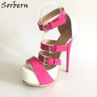 Sorbern Pink Gladiator Sandals Women Platform High Heels Summer Shoes For Ladies Sandalia Gladiadora Open Toe Shoes Women