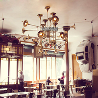 Nordic Delightful Golden Trumpet Drop Lights European Dining Room Restuarnat Hotel Foyer Cafes Pub Coffee Shops