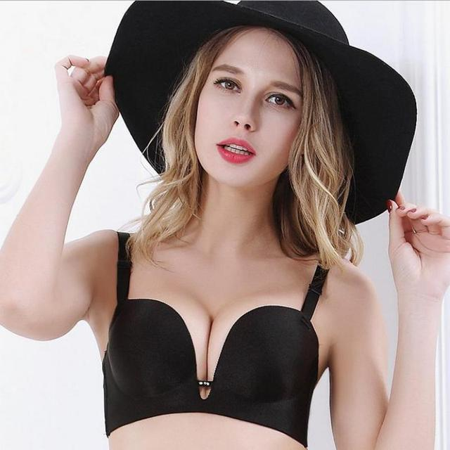 Sexy A Semi-enclosed Seamless Underwear Pieces 1/2 Cup Seamless Bra Gather Deep V Sexy Lady Push Up Bras For Women Underwear