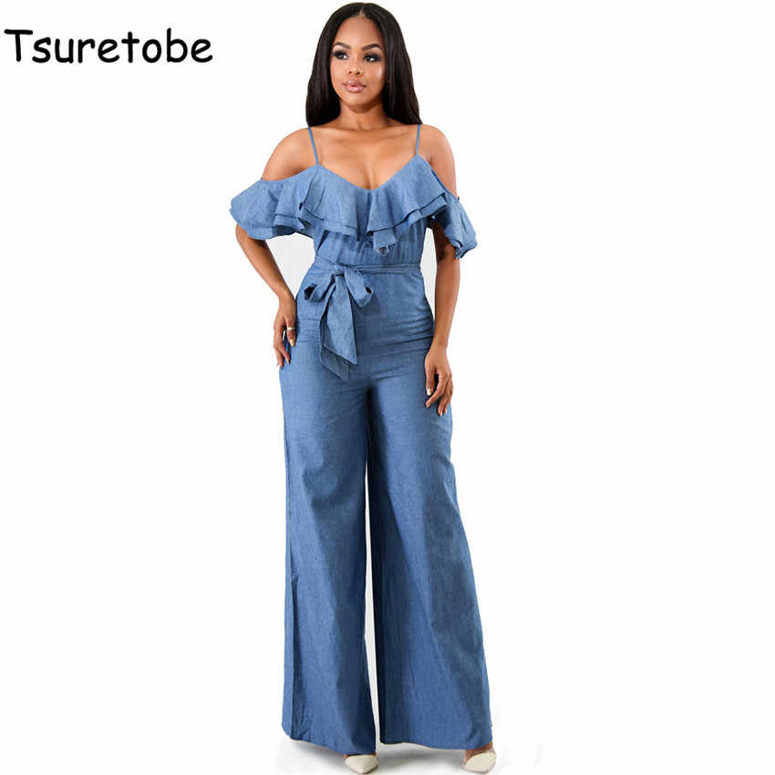 ff341c5ffb8 Tsuretobe Summer Sexy Off Shoulder Denim Jumpsuit Women Wide Leg Pants  Loose Casual Ruffle Jumpsuit Bodycon