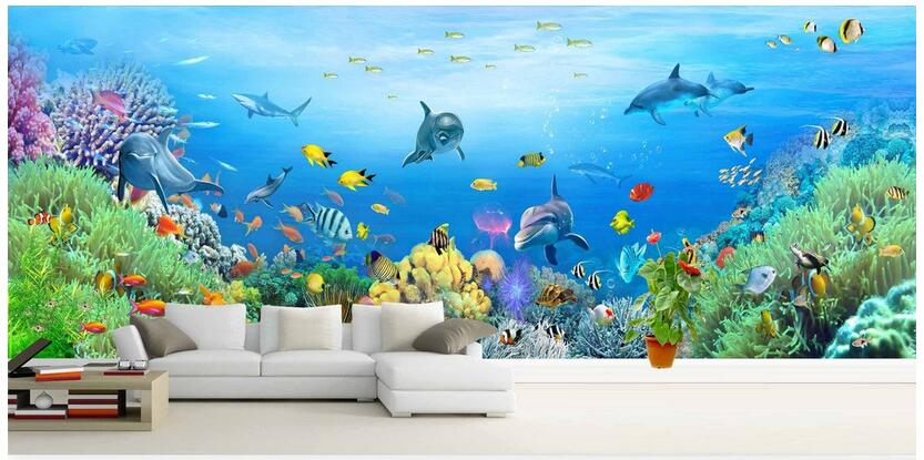 3d wallpaper custom photo non-woven mural Dolphin fish coral large murals decoration painting room wallpaper for walls 3d custom photo 3d wallpaper non woven mural 3d wall murals wallpaper for living room european watercolor roses decoration painting