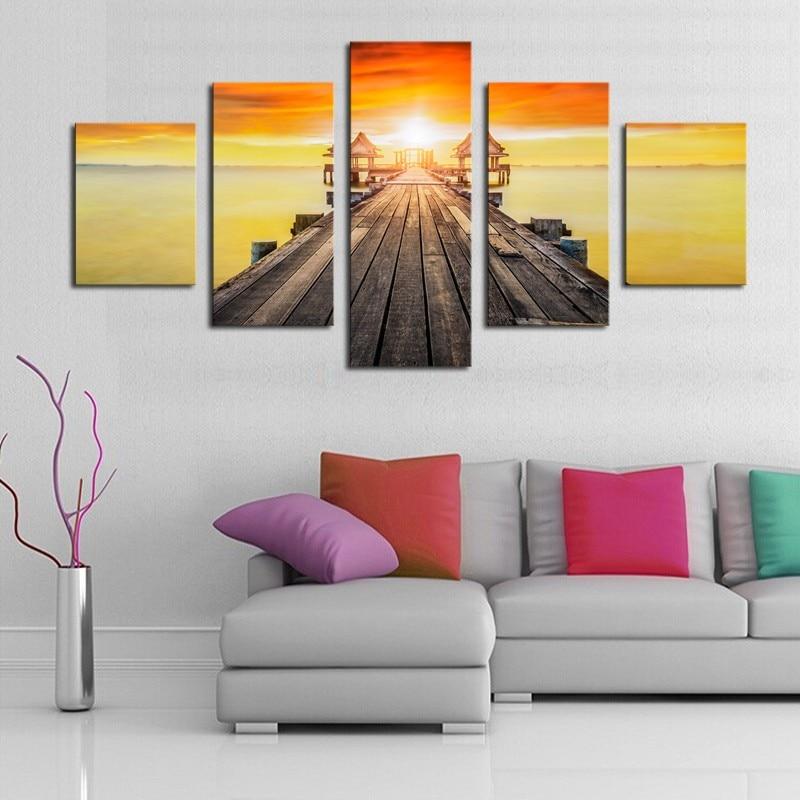 ②5 Paneles (Sin Armazón) Modern Seascape Sunset Paisaje Pintura ...