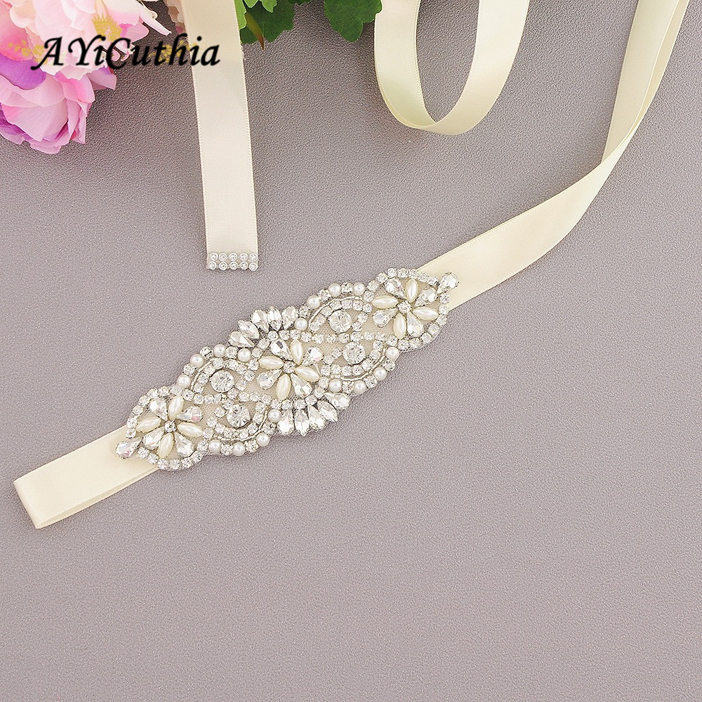 AYiCuthia Wedding Belt Silver Diamond Bridal Belt For Wedding Gown Rhinestones Bridal Belt Wedding Decoration Y14